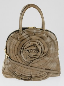Valentino Taupe Nappa Leather Petale Dome Bag