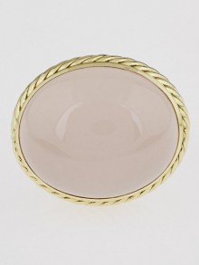 David Yurman Rose Quartz Sterling Silver and 18k Gold Ring Size 7.5