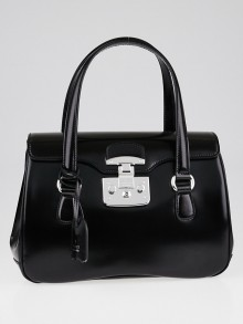 Gucci Black Smooth Leather Lady Lock Small Satchel Bag