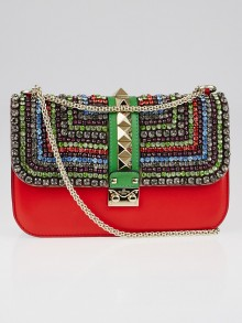 Valentino Red Multicolor Leather and Crystal Rockstud Glam Lock Flap Bag