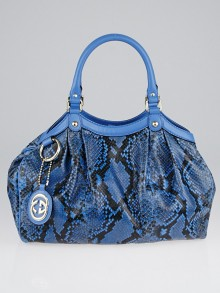 Gucci Blue Python Medium Sukey Tote Bag