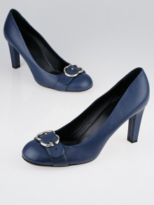 Gucci Blue Leather Interlocking G Buckle Pumps Size 10.5/41