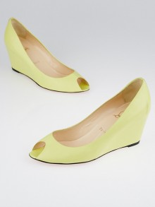 Christian Louboutin Yellow Leather Peep Toe Wedges Size 10/40.5