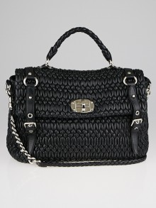 Miu Miu Black Cloquet Nappa Leather Satchel Bag