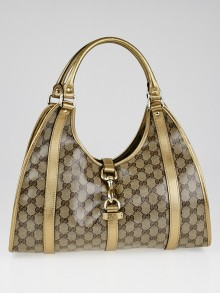 Gucci Beige/Gold Crystal Coated Canvas Joy Shoulder Bag