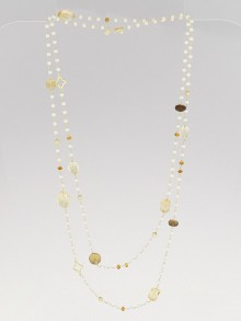 David Yurman Pearl and Citrine Quatrefoil Long Necklace