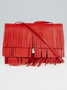 Proenza Schouler Mandarin Red Leather Fringe Small Lunch Bag