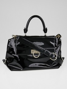 Salvatore Ferragamo Black Patent Leather Medium Sofia Bag