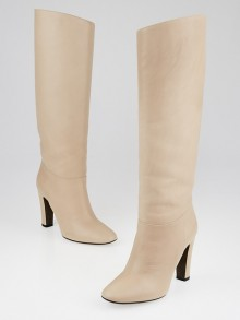 Valentino Beige Leather Tall Boots Size 5/35.5