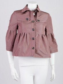 Burberry London Taupe Pink Polyester Barningham Jacket Size 2