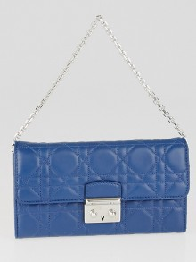 Christian Dior Mineral Blue Cannage Quilted Lambskin Leather Miss Dior Rendez-Vous Chain Wallet