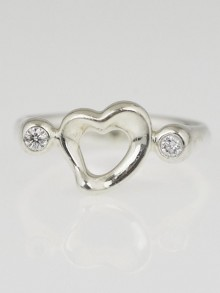 Tiffany & Co. Sterling Silver and Diamond Elsa Peretti Open Heart Ring Size 4.5