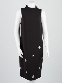 Prada Black Wool Grommet Sleeveless Dress Size 8/42