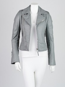 Balenciaga Grey Lambskin Leather Classic Moto Jacket Size 4/36