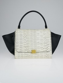 Celine White Snakeskin and Black Leather Large Trapeze Bag