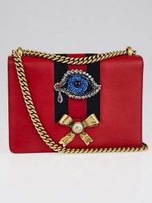 Gucci Red Leather Peony Medium Eye Chain Shoulder Bag