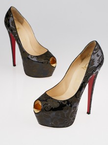 Christian Louboutin Black/Gold Patent Leather Arabesque Highness 160 Pumps Size 9.5/40