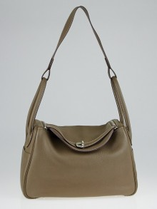 Hermes 34cm Etoupe Clemence Leather Palladium Plated Lindy Bag