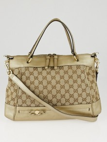 Gucci Beige/Gold GG Canvas Mayfair Bow Top Handle Bag