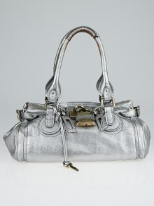 Chloe Metallic Silver Leather Medium Paddington Satchel Bag
