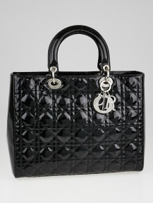 Christian Dior Black Cannage Quilted Patent Leather Large Lady Dior Tote Bag