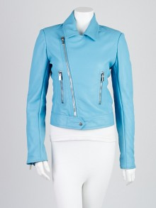 Balenciaga Turquoise Lambskin Leather New Moto Jacket Size 6/38
