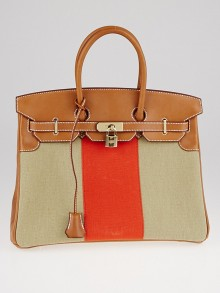 Hermes 35cm Natural Barenia Leather and Toile Flag Birkin Bag