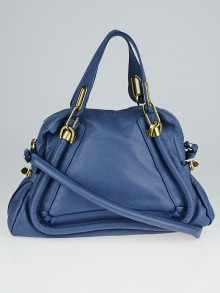 Chloe Blue Pebbled Leather Medium Paraty Bag