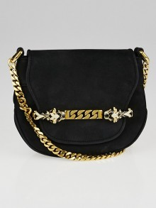 Gucci Black Nubuck Tigrette Chain Small Shoulder Bag