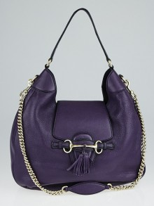 Gucci Purple Pebbled Leather Emily Chain Hobo Bag