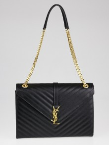 Yves Saint Laurent Black Matelasse Quilted Grained Leather Large Classic Monogram Satchel Bag