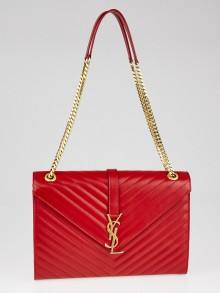 Yves Saint Laurent Red Matelasse Quilted Grained Leather Large Classic Monogram Satchel Bag