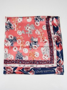 Louis Vuitton Coral Lotus Flower Silk Square Scarf