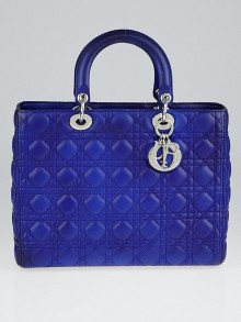 Christian Dior Blue Cannage Quilted Lambskin Leather Large Lady Dior Bag w/o Strap