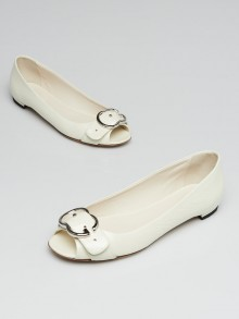 Gucci White Crinkled Patent Leather GG Buckle Peep-Toe Flats Size 5/35.5