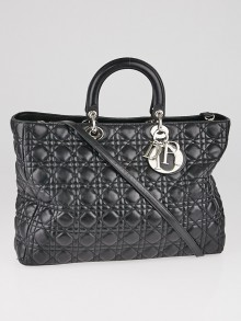 Christian Dior Black Cannage Quilted Lambskin Soft Lady Dior Large Tote Bag