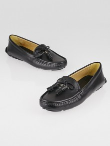 Prada Black Saffiano Leather Tassel Driving Loafers Size 6/36.5
