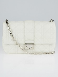 Christian Dior White Cannage Quilted Lambskin Leather Miss Dior Medium Flap Bag