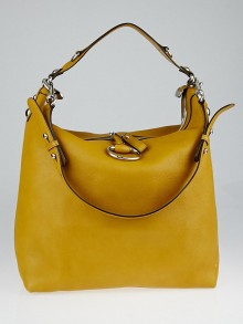 Gucci Yellow Pebbled Leather Icon Bit Large Hobo Bag