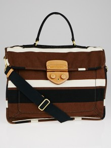 Prada Tabacco Canapa Stripe Canvas Pattina Messenger Bag