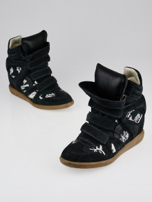 Isabel Marant Black Suede and Printed Canvas Bekett Sneaker Wedges Size 10.5/41