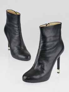 Chanel Black Lambskin Leather Short Boots Size 9.5/40