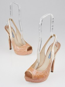 Prada Blush Sequin Degrade Platform Peep Toe Pumps Size 8/38.5