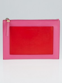 Balenciaga Pink/Red Leather Calf Leather Pocket Zip Pouch