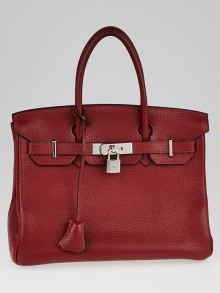 Hermes 30cm Rouge H Clemence Leather Palladium Plated Birkin Bag