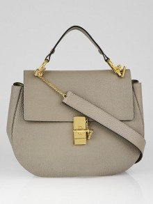 Chloe Motty Grey Pebbled Leather Medium Drew Shoulder Bag