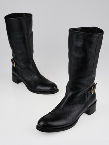 Prada Black Leather Buckle Calf-High Boots Size 6.5/37