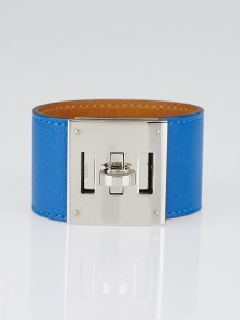 Hermes Blue Izmir Swift Leather Palladium Plated Kelly Dog Bracelet