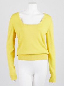 Balenciaga Yellow Wool Square-Neck Sweater Size 6/40