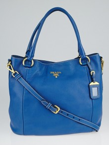 Prada Cobalto Vitello Daino Leather Tote Bag BR4391